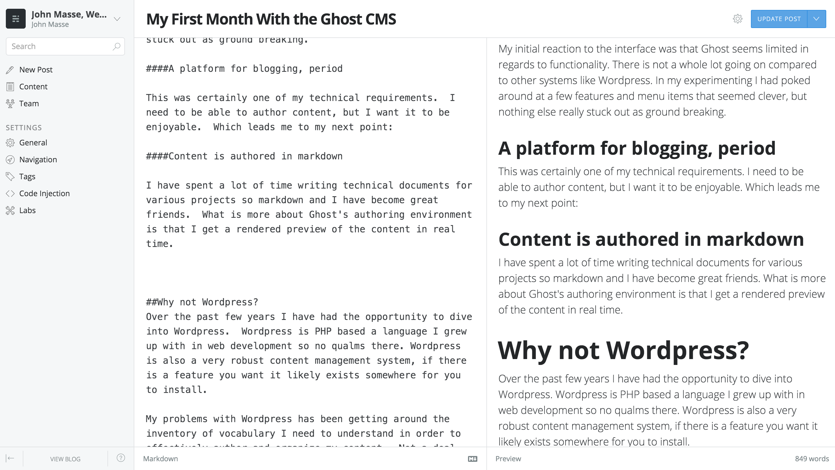 screenshot of the Ghost interface as I write My First month with Ghost